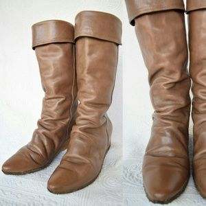 Vintage Frye scrunch tan leather wedge boots